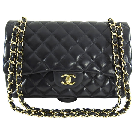 Chanel Jumbo Black Lambskin Classic Double Flap Quilt Bag Gold