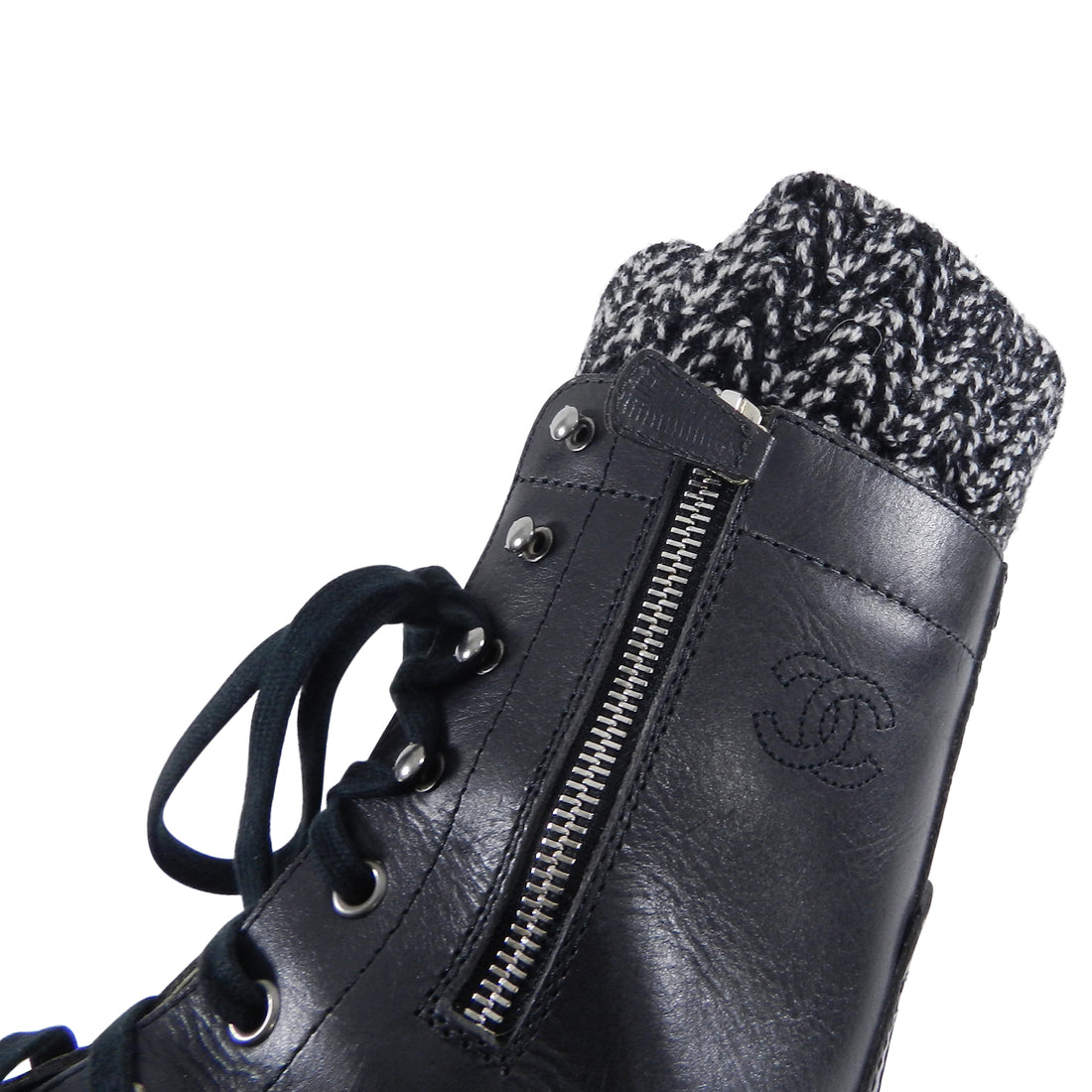 Chanel Fall 2011 Black Combat Boots With Knit Inset - 41