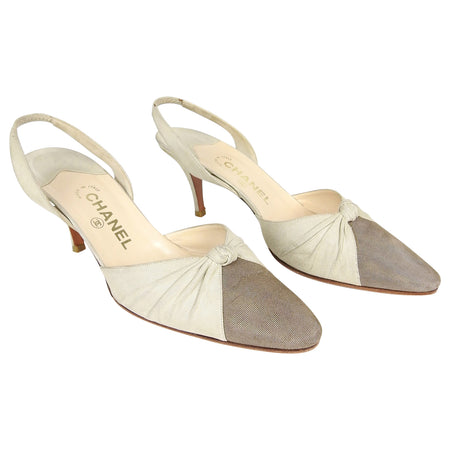 Chanel Beige and Taupe Two-tone  Knot Design Slingback Heels - 41