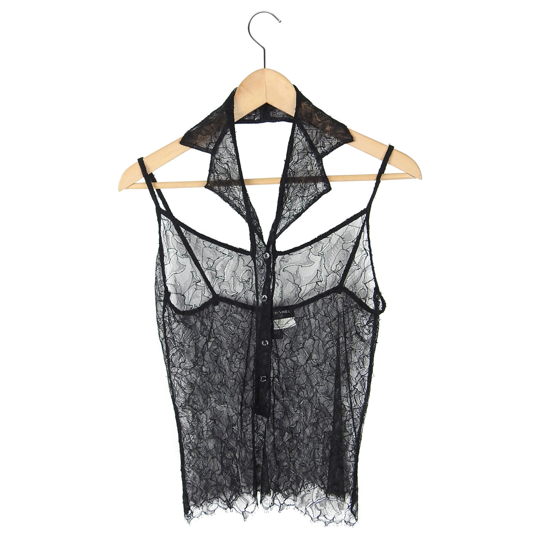 Chanel 04C Black Sheer Lace Tuxedo Halter Top - XS