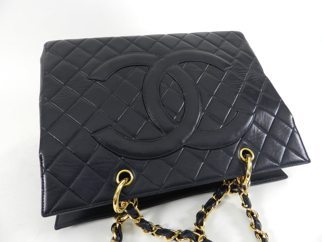 Chanel Vintage Large Lambskin Quilted CC Logo Tote Bag