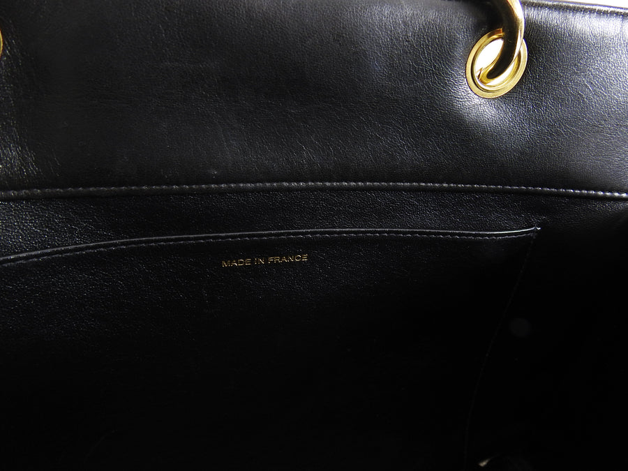 Chanel Vintage 1996 Black Lambskin Quilt Leather CC Tote Bag