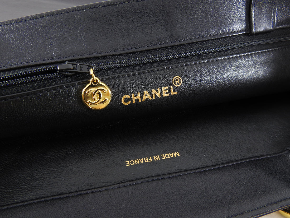 Chanel Vintage 1994 XL Lambskin CC Tote Bag with Chain Straps