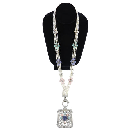 Chanel 17S Pearl Bead Deco Style Lanyard Runway Necklace