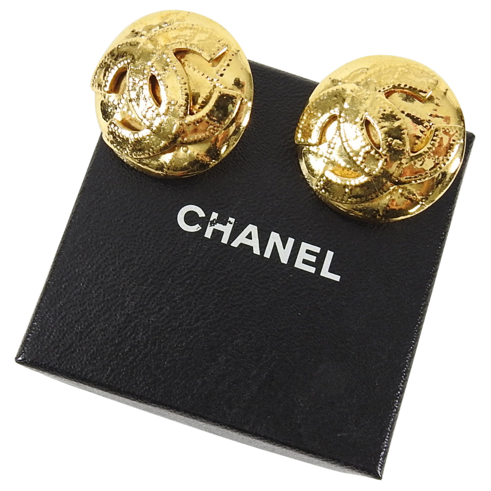 Chanel Vintage 1990's Large CC Logo Clip on Earrings