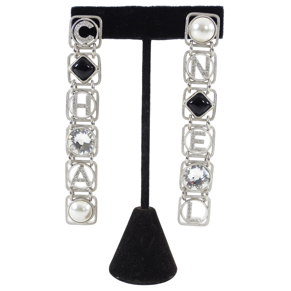 Chanel 20S Long Silver Crystal Logo Link Earrings