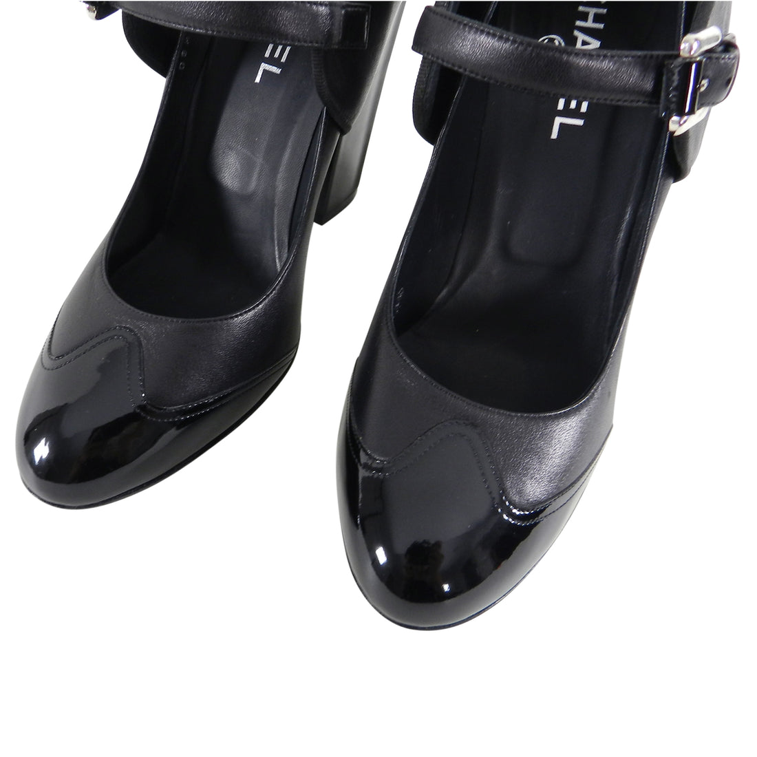 Chanel 08P Black Leather and Patent CC Mary Jane Shoes - 41