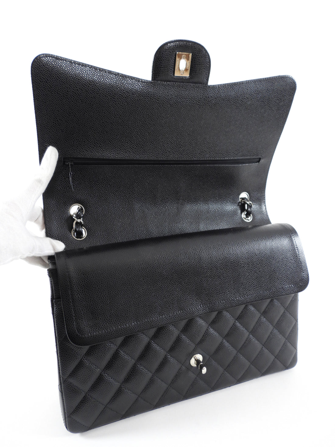 Chanel Black Caviar Maxi Classic Double Flap Bag