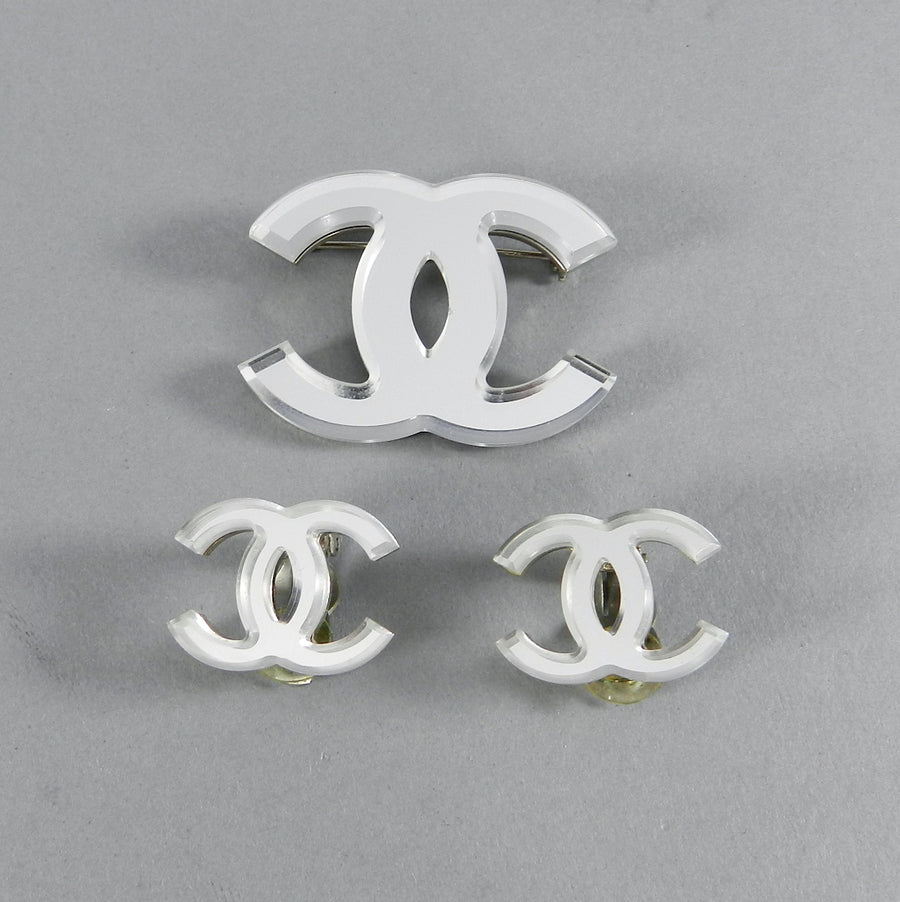 Chanel 03a Glass Mirror CC logo Brooch and Clip Earrings Set