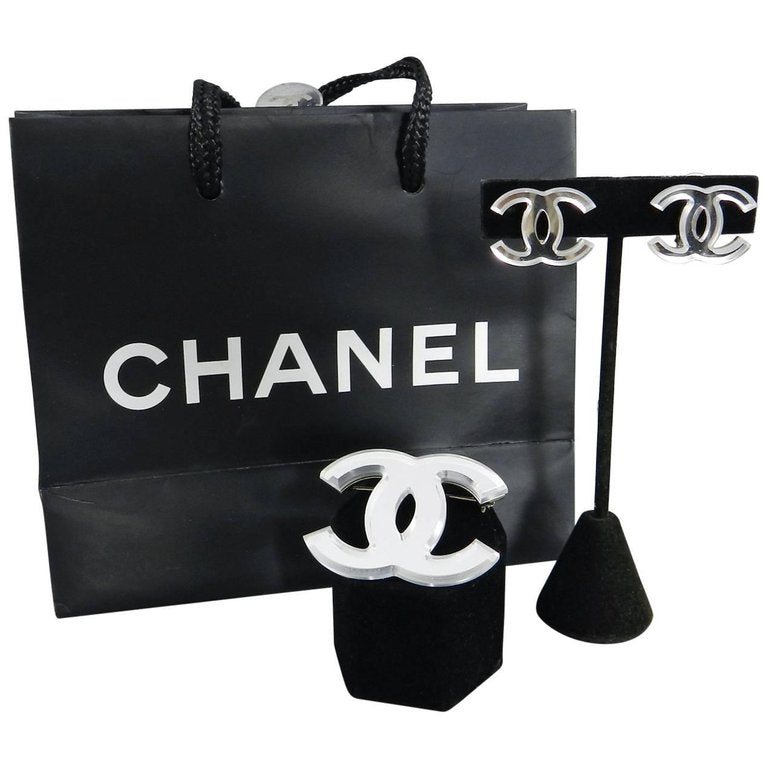 Chanel Glass Mirror CC logo Brooch and Clip Earrings Set