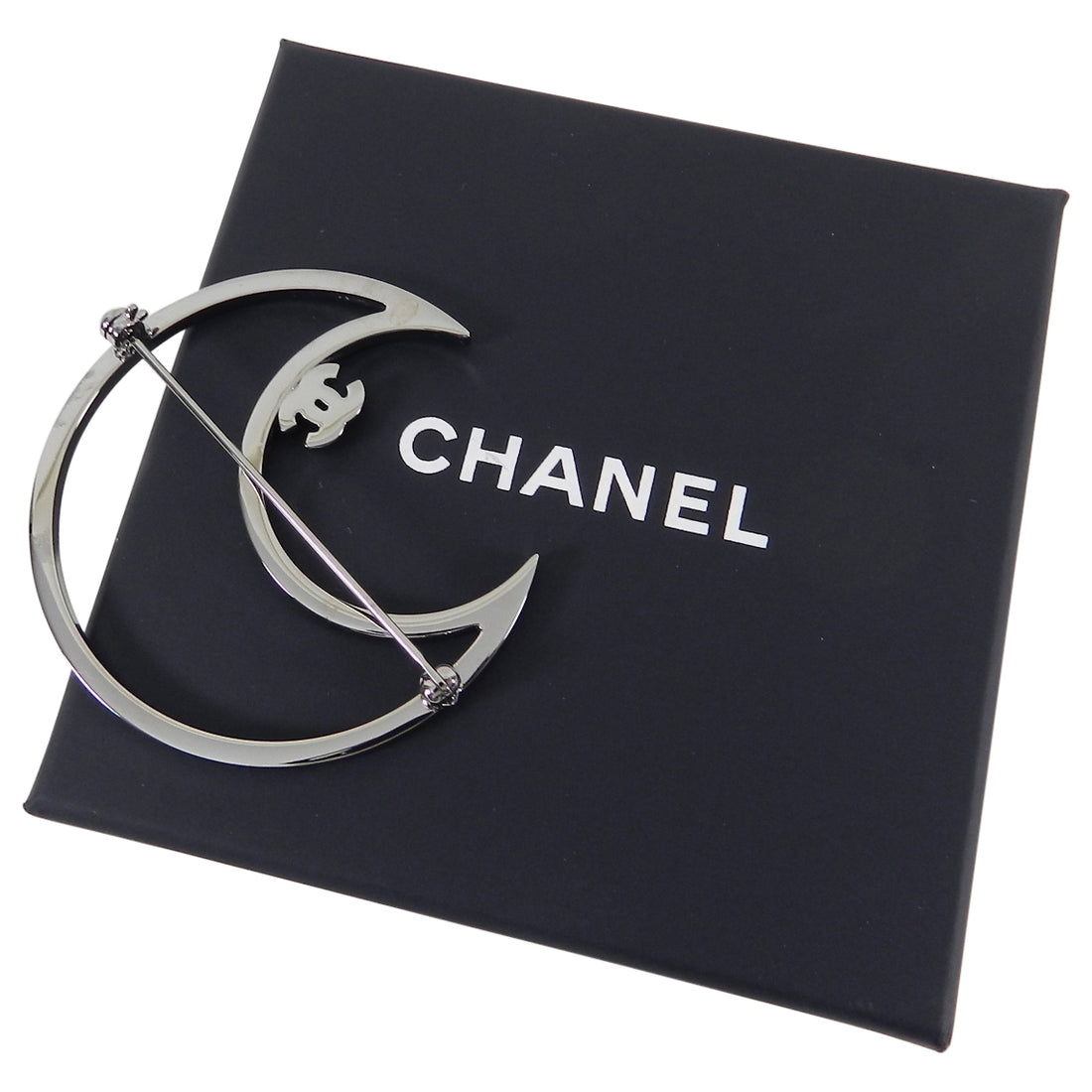 Chanel 2017 Cruise Blue Rhinestone Ruthenium Crystal CC Moon Brooch