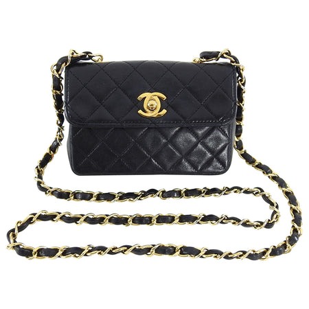 Chanel Vintage 1989 Black Lambskin Micro Mini Classic Flap Bag