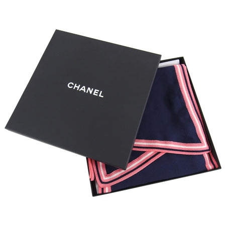 Chanel Navy and Pink Long Silk Jacquard Scarf