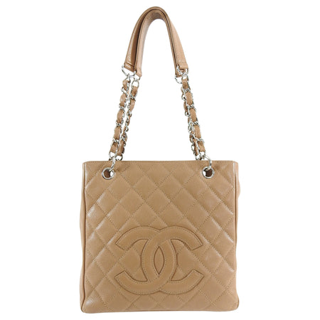 Chanel Dark Nude Caviar Leather PST Petite Shopping Tote Bag