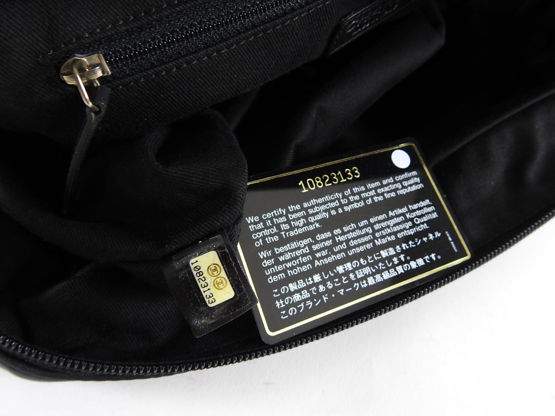 Chanel Jumbo Expandable Black Nylon Quilt Flap Bag