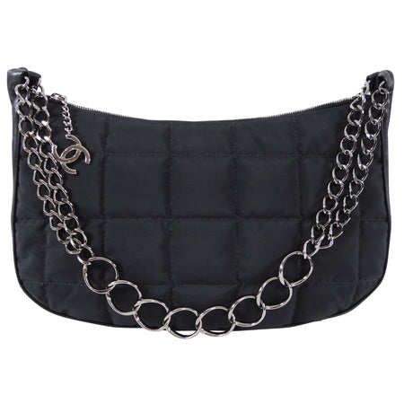 Chanel Vintage 2002 Nylon and Leather Chain Strap Hobo Bag