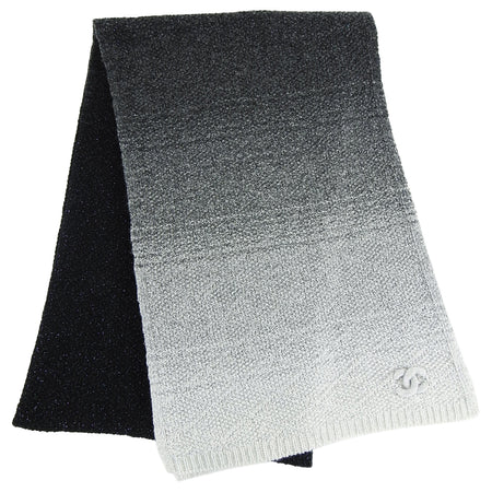 Chanel Cashmere Black and Grey Ombre Knit Long Scarf
