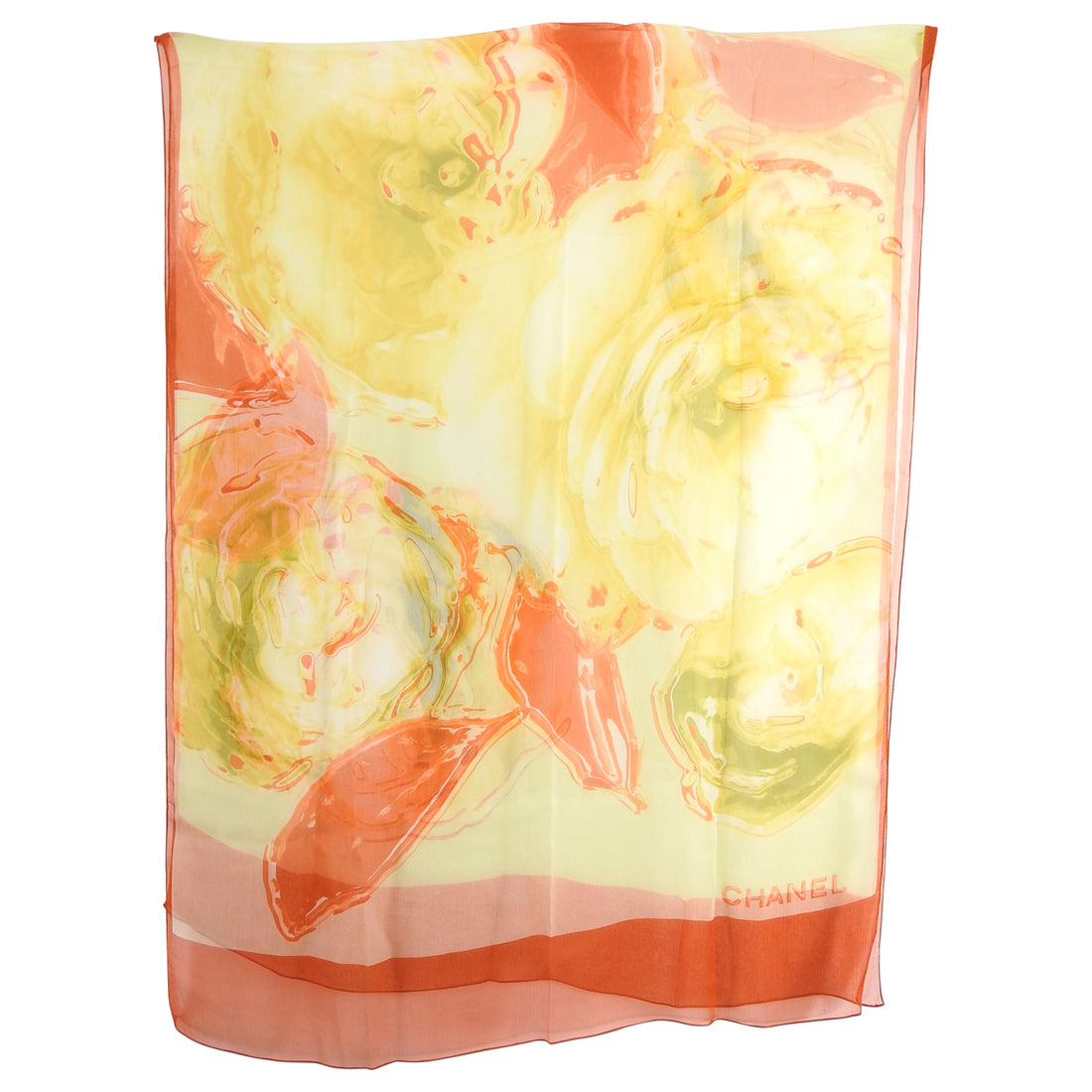 Chanel Orange and Yellow Floral Long Silk Chiffon Scarf