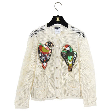 Chanel 2017 Resort Cuba Runway Cream Knit Parrot Embellished Cardigan - FR38 / 6
