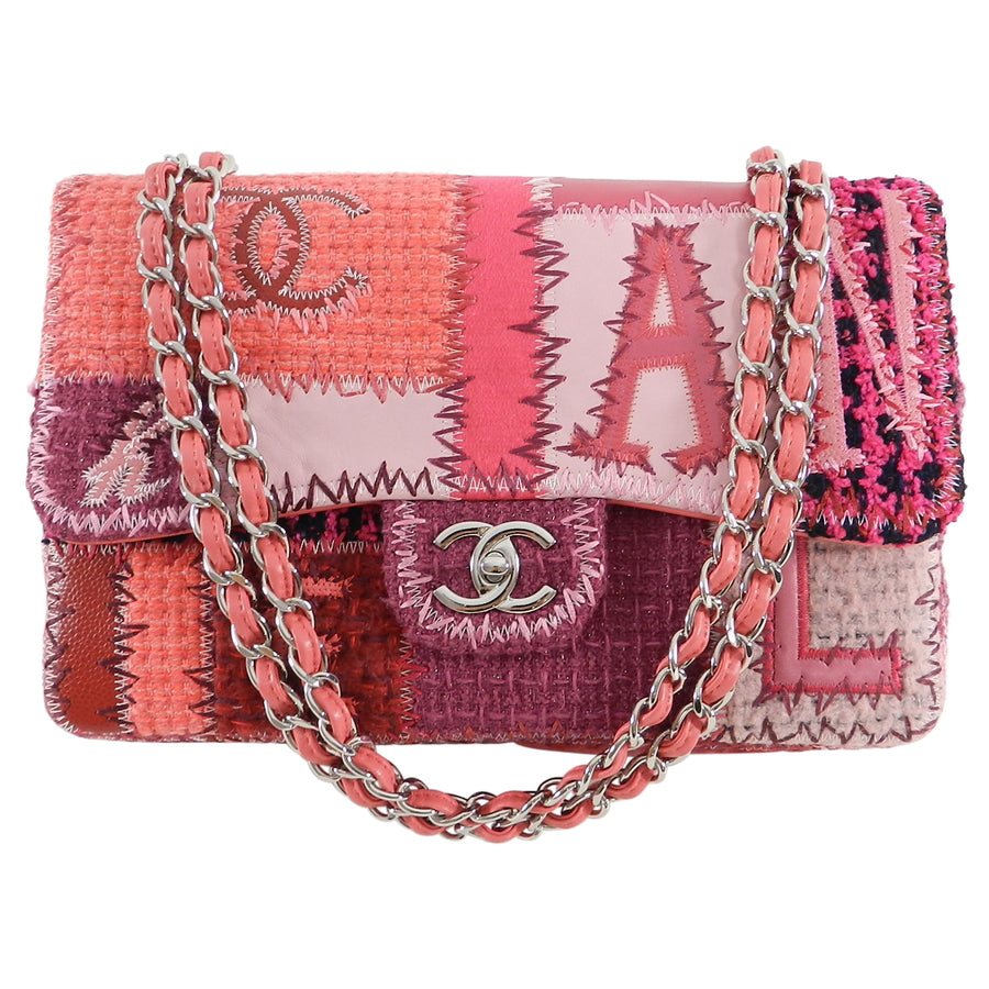 Chanel Fall 2016 Pink Tweed Patchwork Coco Chanel Jumbo Flap Bag