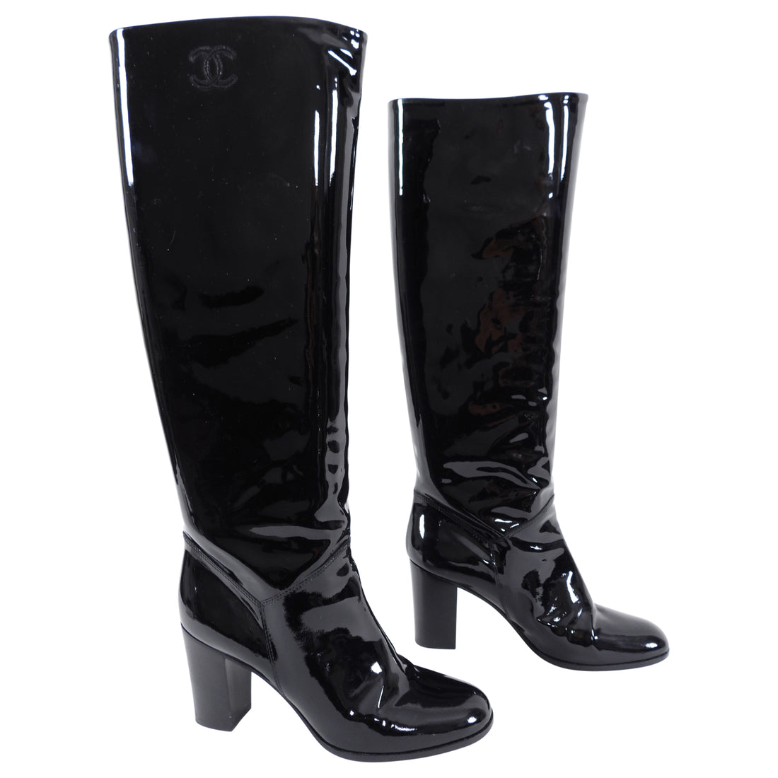 Chanel Black Patent Leather Tall Boots with Block Heel - 39.5 / 9