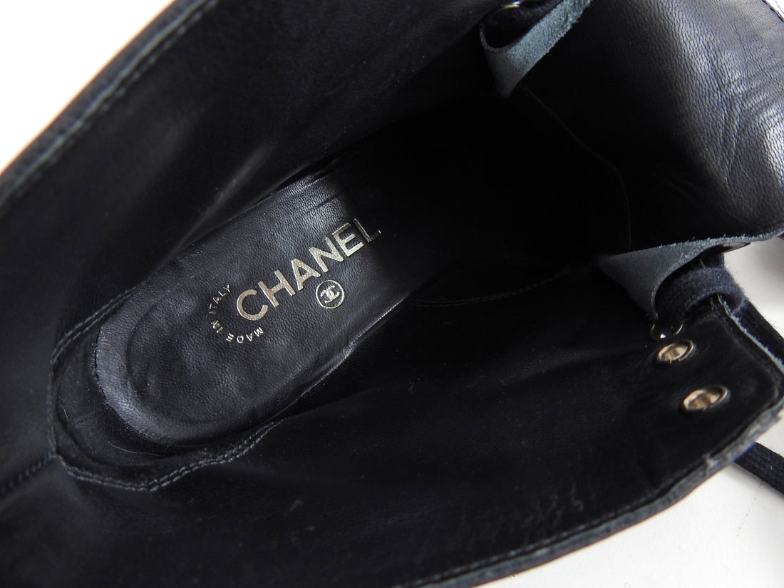 Chanel Black Patent Metal Cap Toe CC Logo Ankle Boots - 41