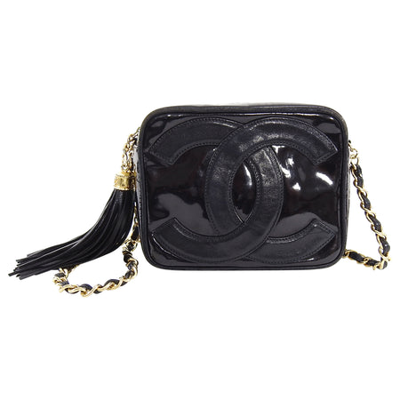 Chanel Vintage 1986 Mini Black Patent CC Logo Camera Bag