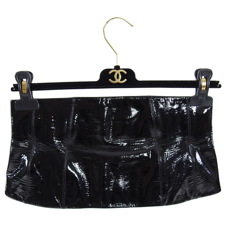 Chanel 2001 Fall Black Patent Leather Wide Waist Cincher Corset Belt