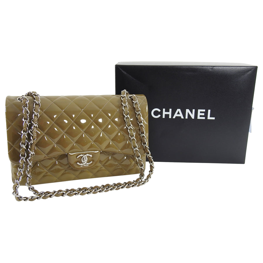 Chanel Gris Fonce Patent Leather Quilt Jumbo Double Flap Bag Silver Hardware