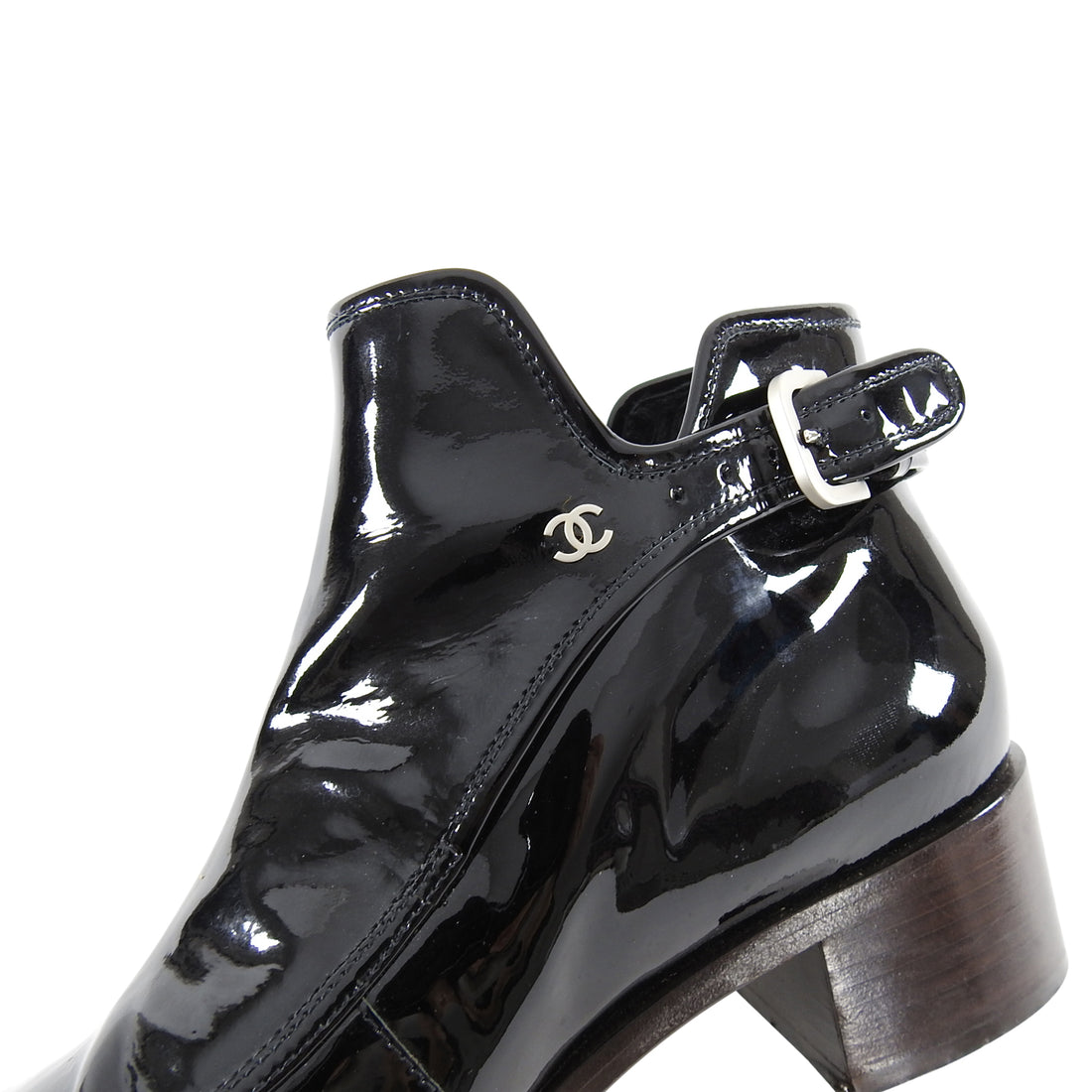 Chanel Black Patent Leather Point toe Ankle Boots - 9.5