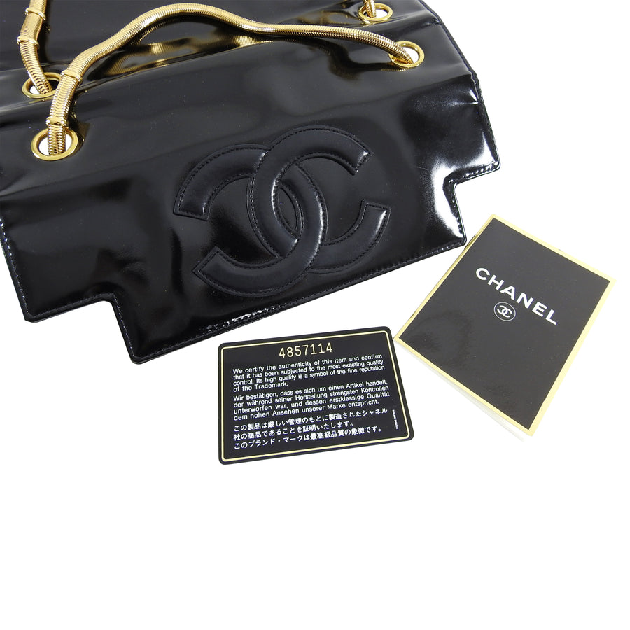 Chanel Vintage 1996 Black Patent CC Logo Bag with Double Gold Snake Chain