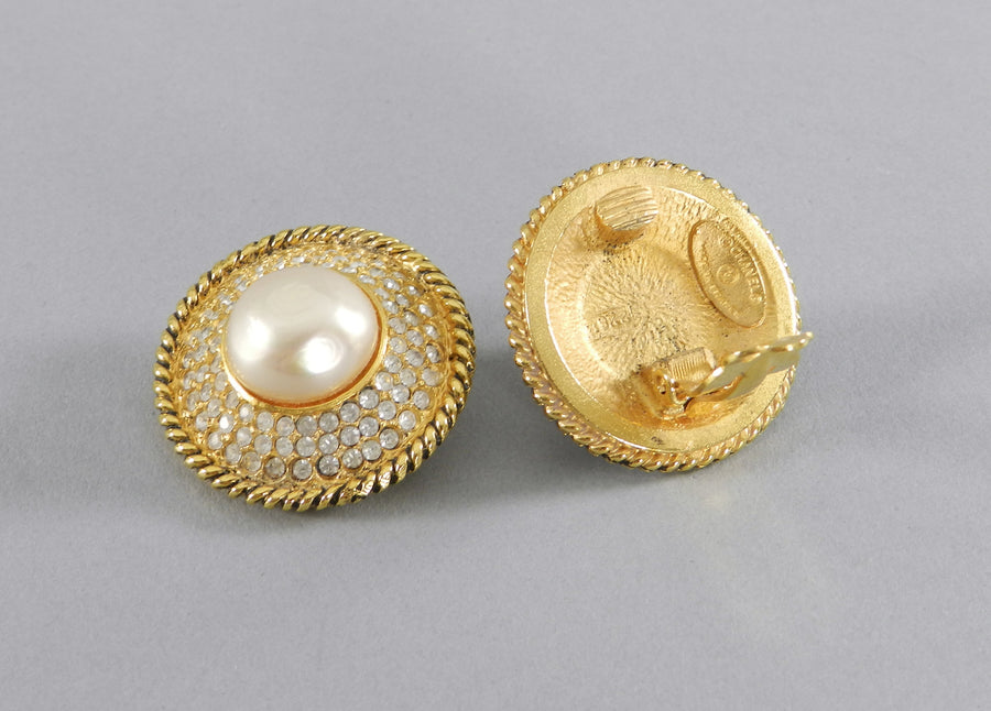 CHANEL vintage 1980's Pearl and Rhinestone button Clip on Earrings