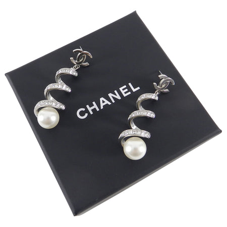 Chanel 15S Silver Rhinestone Spiral Earrings with Pearls
