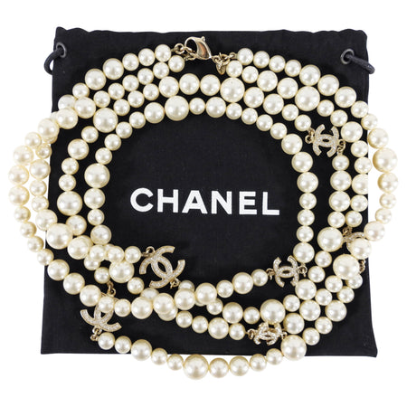 Chanel 12P Pearl Double Strand Necklace with Crystal CC Stations