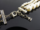 Chanel 14B Triple Pearl Multi Strand Jewelled CC Necklace
