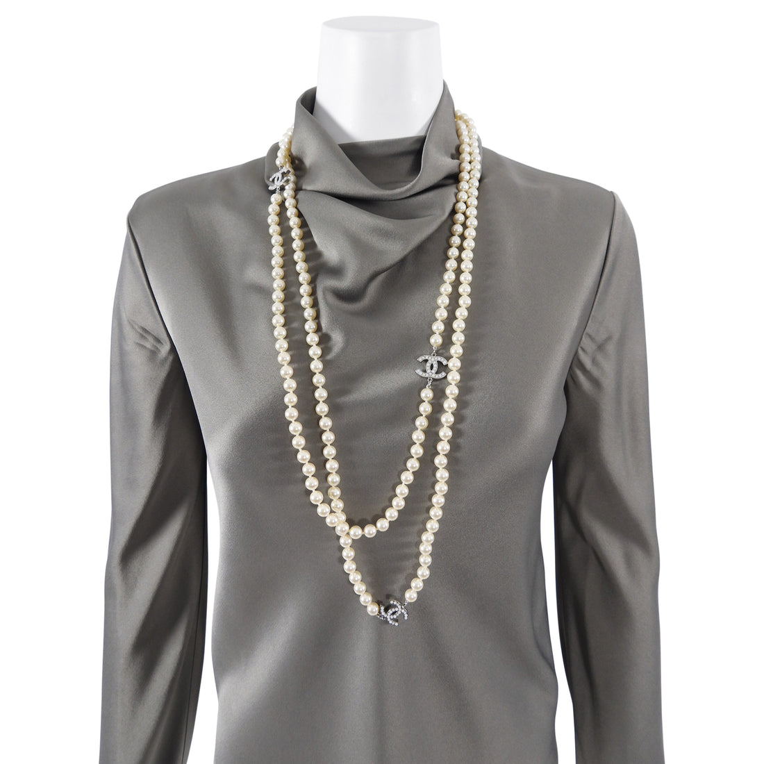 Chanel 10V Extra Long Single Strand CC Pearl Double Wrap Necklace