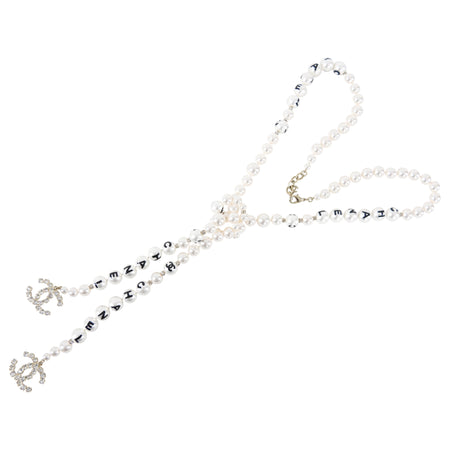 Chanel 2020 Logo Pearl Knot Necklace with CC Crystal Drops