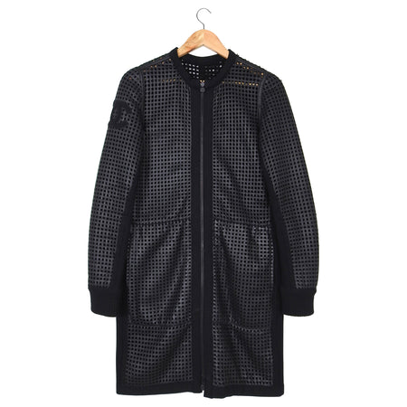 Chanel Black Perforated Leather CC Reversible Coat – FR40 / USA 6/8