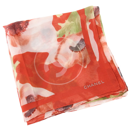 Chanel Red Camelia Flower Photoprint Sheer Silk Chiffon Scarf