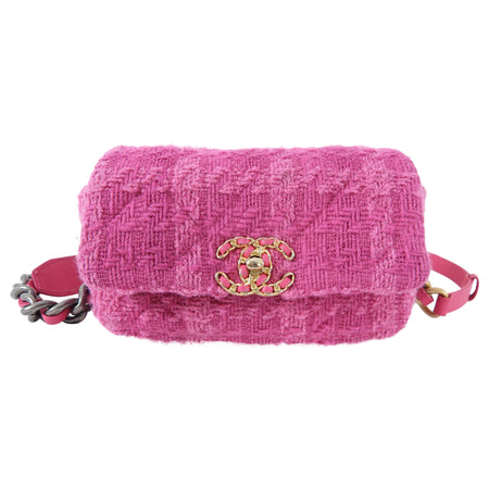 Chanel 19 Pink Tweed Runway Waist Bag / Belt Bag