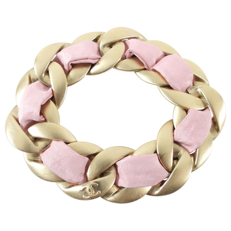 Chanel 09C Pink and Gold Chain Bracelet