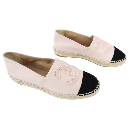 Chanel 2019 Pink Leather and Black Suede CC Espadrille Flats - 36 / USA 5.5