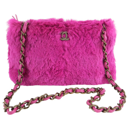 Chanel Hot Pink Rabbit Fur CC Logo Bag with Chain Strap