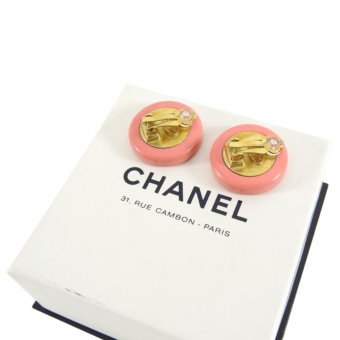 Chanel 95C Vintage Pink and Mirror CC Logo Round Clip Earrings