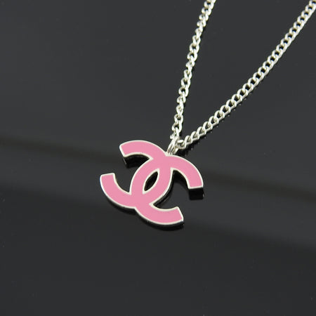 Chanel 04P Silver and Pink Enamel CC Pendant Necklace