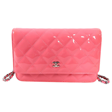 Chanel Bubble Gum Pink Patent Leather Wallet on Chain Crossbody