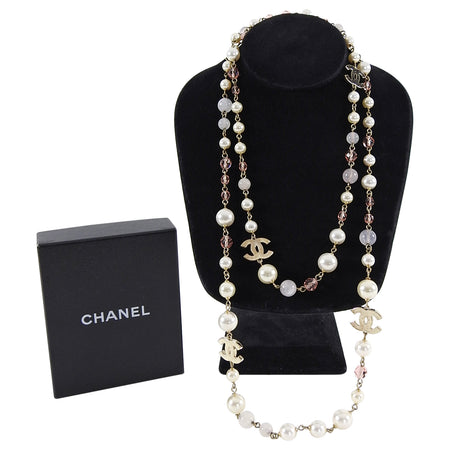 Chanel 08C Long Pearl and Pink Bead CC Necklace