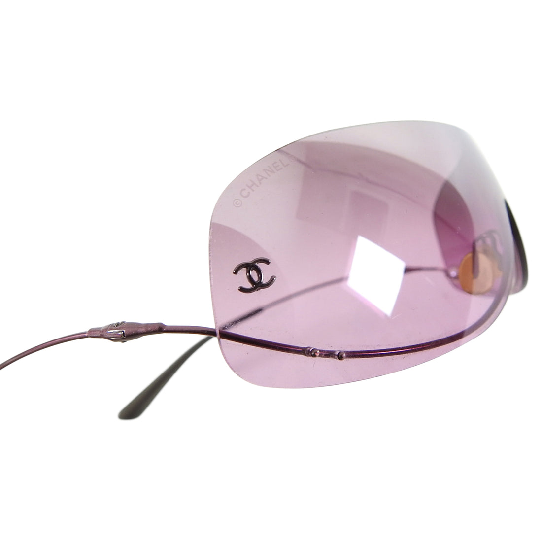 Chanel Vintage Rose Tinted Frameless Shield Sunglasses with Pearl