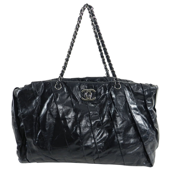 Chanel Large Black Glazed Calfskin Pleated Tote Bag
