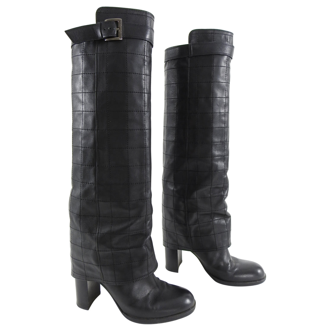 Chanel Black Leather Quilted Tall Boots - 39